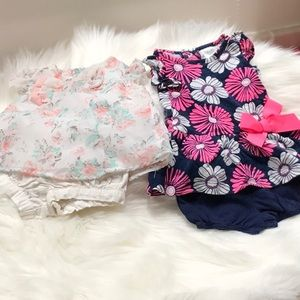Bundle of 2 sets of Newborn dresses with shorts